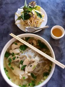Pho with chicken. Photo from a Connecticut restaurant, taken by Rosemary Minati.